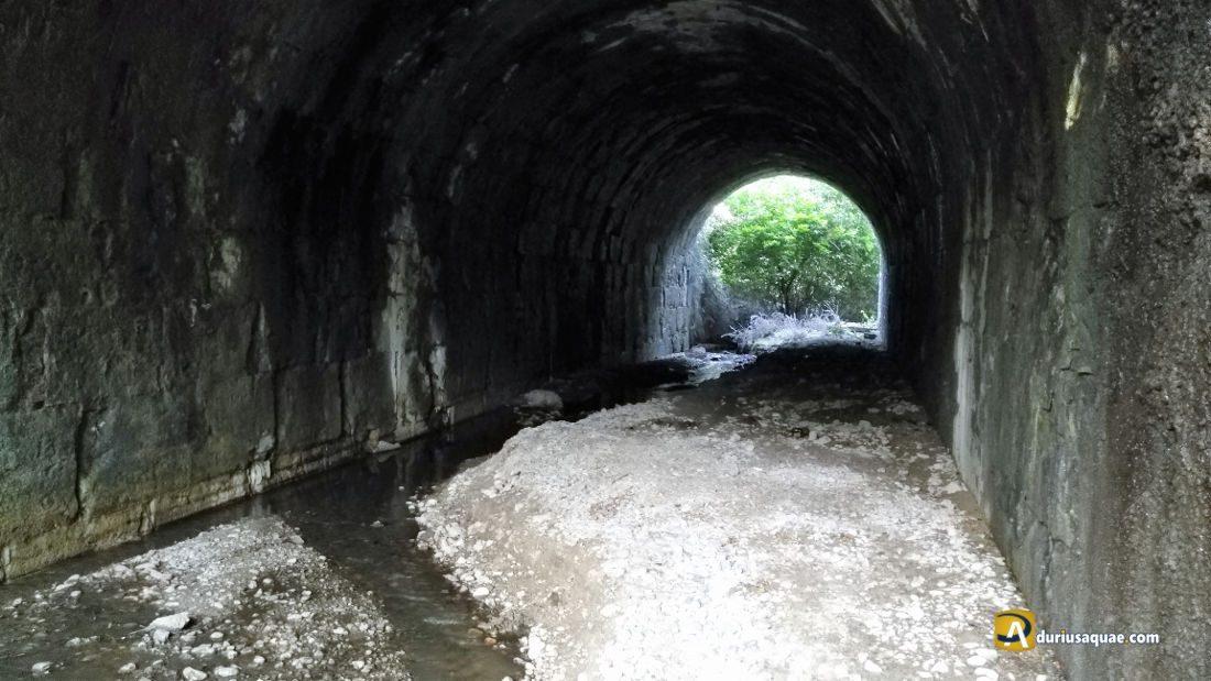 Durius Aquae: Interior del acueducto con el escuálido arroyo precipitándose al Pisuerga
