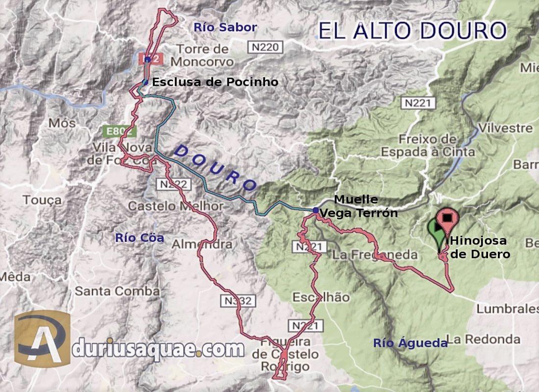 Mapa aproximado del recorrido, en barco color azul. Resto en autobús