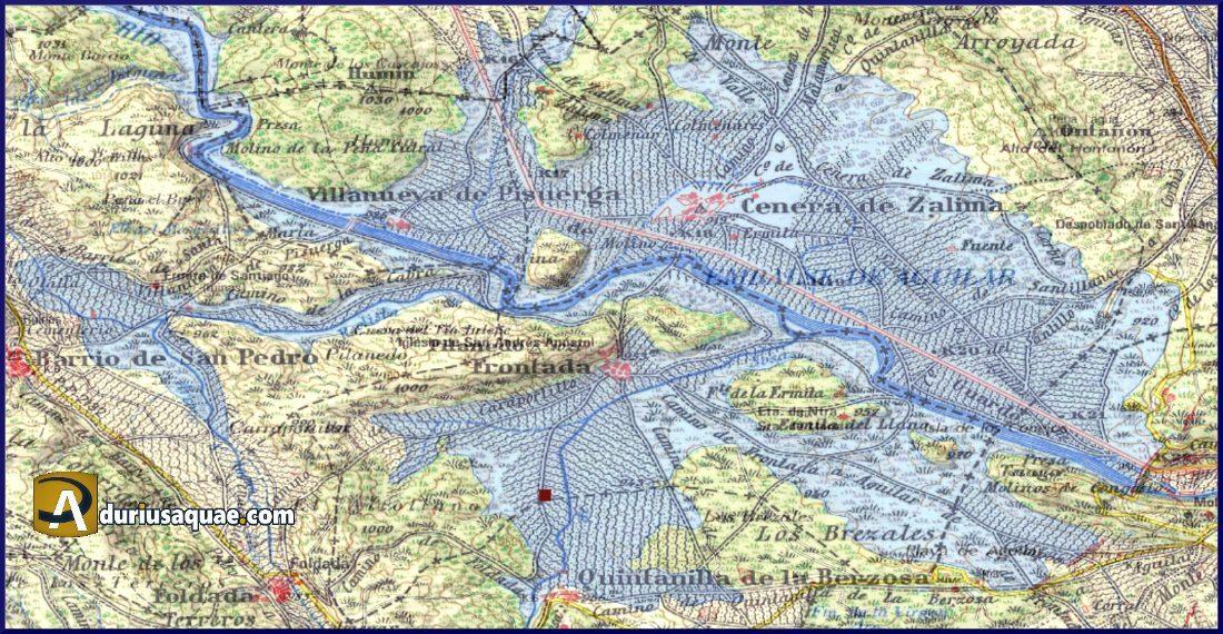 Durius Aquae: Sobre un mapa anterior a la inundación hemos señalado la zona del embalse de Aguilar