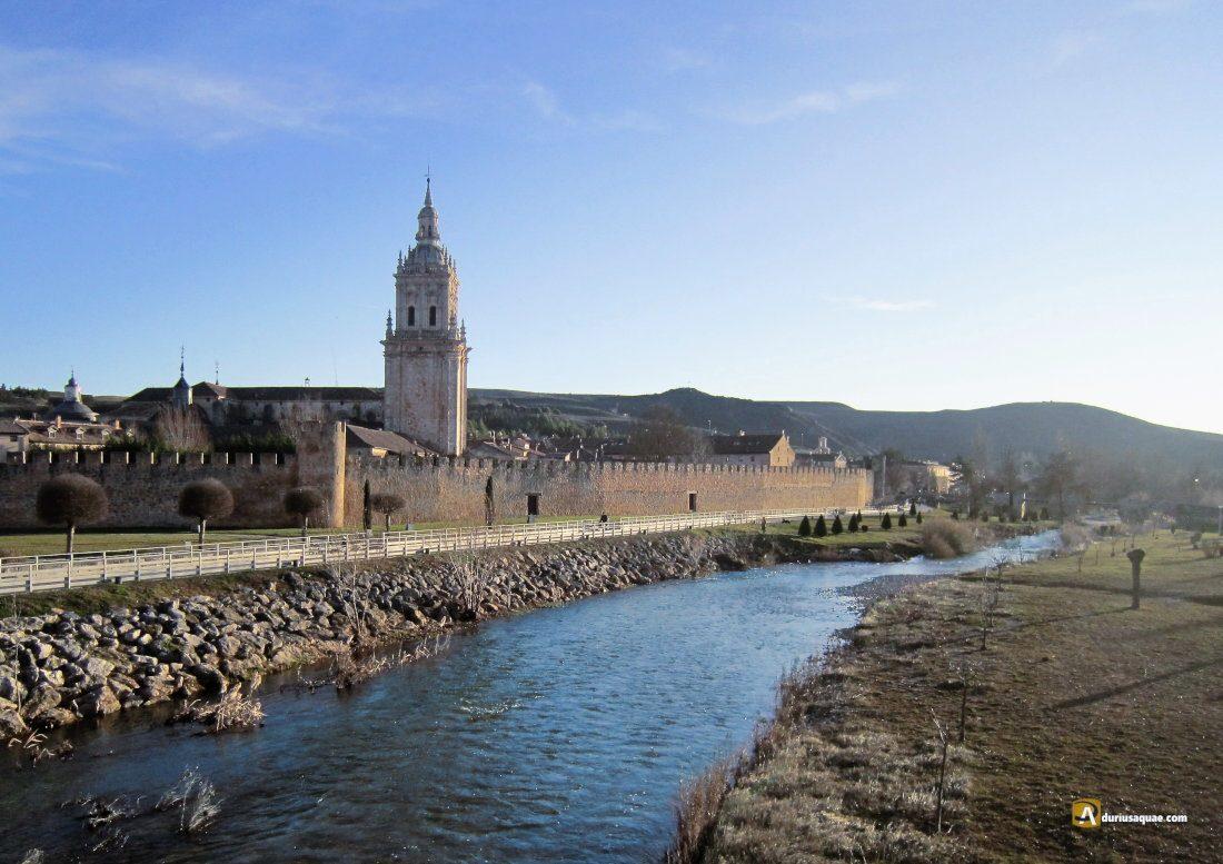 Durius Aquae: Vista del Burgo de Osma, Catedral, muralla, Paseo del Carmen y río Ucero