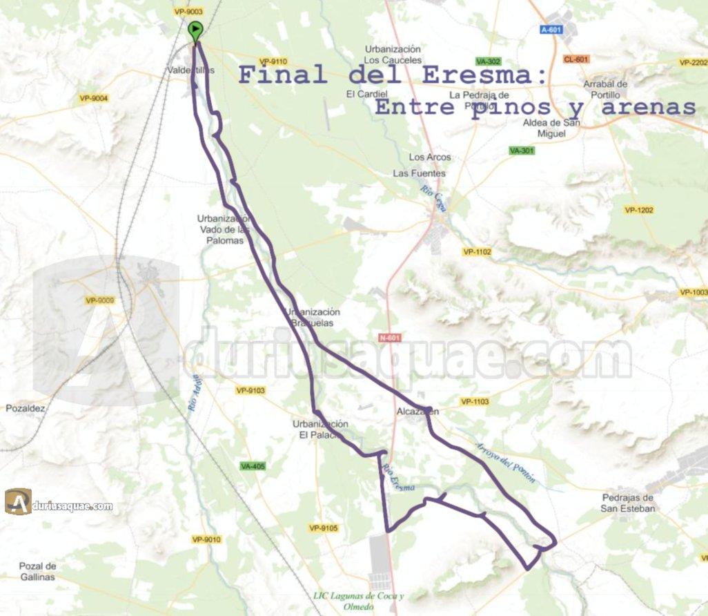 Mapa de la ruta, unos 60 km