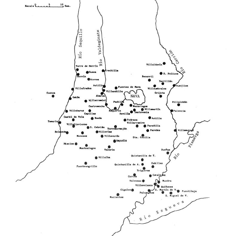 Mapa del Tierra de Campos en el S XIV