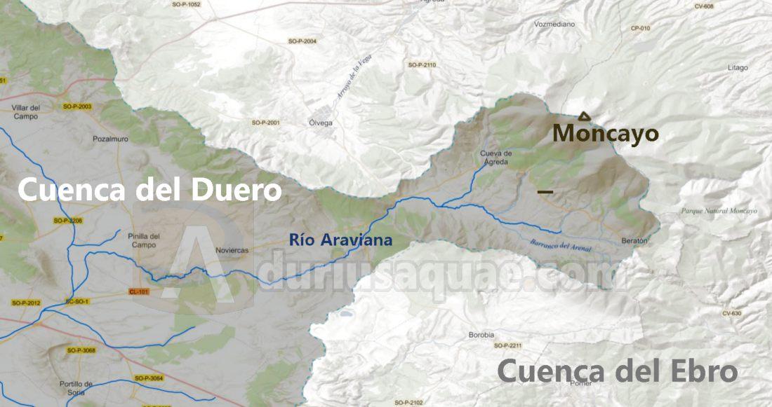 El Moncayo separa las cuencas del Duero y Ebro